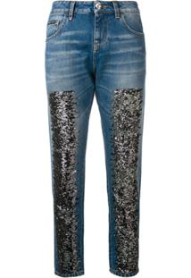 Philipp Plein Calça Jeans Skinny Com Glitter - Azul