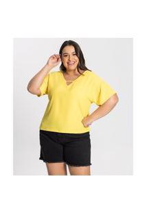 Blusa Plus Size Genebra Feminina Secret Glam Amarelo