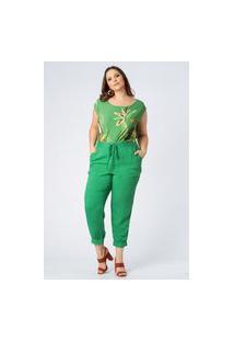 Calça Almaria Plus Size Munny Poá Devorê Verde