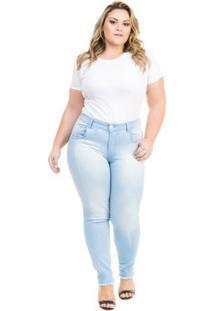 Calça Confidencial Extra Plus Size Jeans Cropped Com Barra Desfiada Feminina - Feminino-Azul Claro