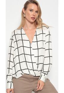 Blusa Quadriculada Com Transpasse - Off White & Pretadudalina