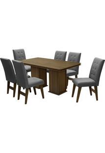 Conjunto De Mesa Para Sala De Jantar Com 6 Cadeiras Esparta-Dobue - Castanho / Grafite