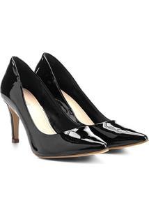 Scarpin Shoestock Salto Médio Bico Fino Verniz - Feminino
