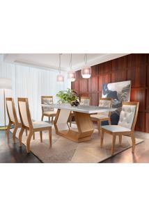 Conjunto De Mesa De Jantar Alvorada Com 6 Cadeiras Estofadas Tamara Veludo Off White E Creme