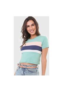 Camiseta Cropped Aeropostale Colors Verde/Rosa