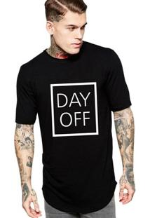 Camiseta Criativa Urbana Oversized Day Off - Masculino-Preto