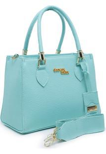 Bolsa Handbag Alça Dupla Mão Zíper Feminina Luxo Verde