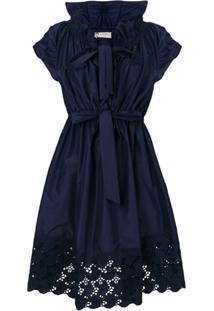 Lanvin Vestido Com Renda - Azul