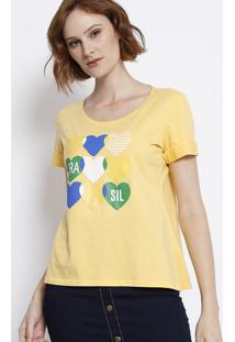 Blusa Com Decote Arredondado - Amarela & Azul Escuromalwee