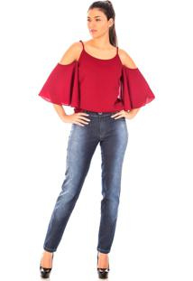 Blusa Sisal Jeans Alça Manga Curta Crepe Cereja