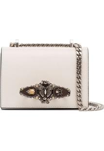 Alexander Mcqueen Butterfly Lizard Effect Shoulder Bag - Branco
