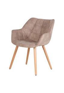 Cadeira Camila Assento Suede Cor Caqui Vintage Com Base Palito - 45033 Preto