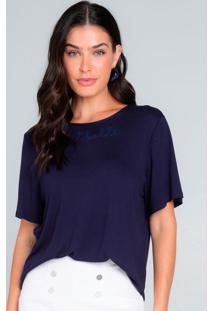 Blusa Feminina Com Bordado Azul