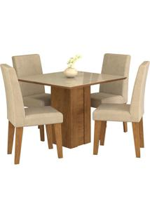 Sala De Jantar Rafaela 95 Cm Com 4 Cadeiras Savana/Off White Sued Bege