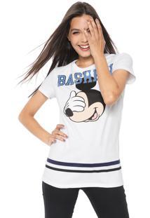 Blusa Cativa Disney Mickey Bashful Branca