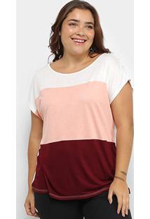 Blusa Plus Size Lecimar Tricolor Mnaga Curta Feminina - Feminino