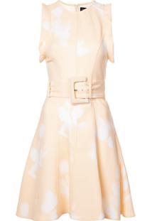 Proenza Schouler Vestido Estampado Com Cinto - Branco