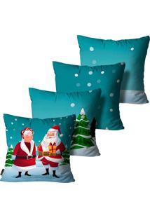 Kit Com 4 Capas Para Almofadas Premium Cetim Mdecore Natal Papai E Mamãe Noel Verde 45X45Cm