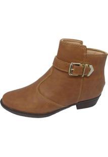 Bota Cano Curto Moda Pé Ankle Boots Caramelo