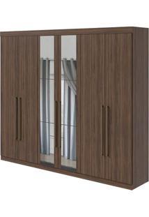 Guarda-Roupa Castellaro Com Espelho - 100% Mdf - 6 Portas - Imbuia Naturale