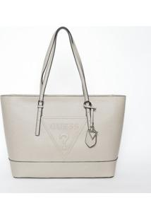 Bolsa Com Recorte & Bag Charm- Nude- 27,5X43X13Cm