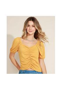 Blusa Feminina Texturizada Manga Curta Bufante Decote Redondo Amarela