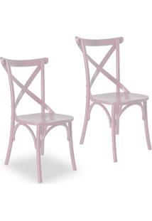 Kit 2 Cadeiras Paris Estilo Vintage Em Madeira Maciça Pintura Laca Rosa Claro