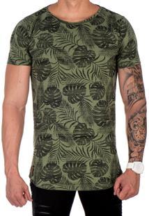 Camiseta Lucas Lunny Oversized Longline Floral Verde Militar