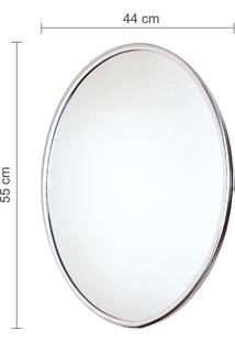 Espelho Oval Astra Lisa 55X44Cm Moldura Alumínio