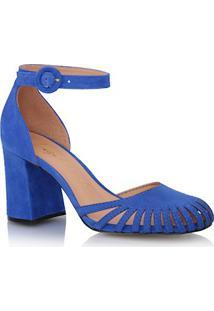 Sapato Bico Redondo Em Camurça Azul
