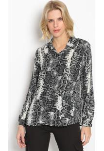 Camisa Animal Print Com Botãµes- Preta & Branca- Inteintens