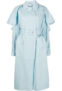 Stella Mccartney Trench Coat Com Sobreposição - Azul