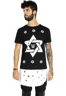 T-Shirt Wosmock Dustin Alongada - Feminino-Preto