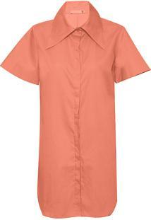 Vestido Camisa Feminina Manga Ampla - Laranja