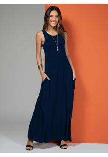 Vestido Longo Com Bolsos Azul