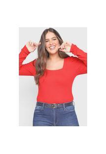 Blusa Cativa Mangas Bufantes Vermelha