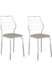 Kit 2 Cadeiras 1716 Retrô/Cromado - Carraro Móveis