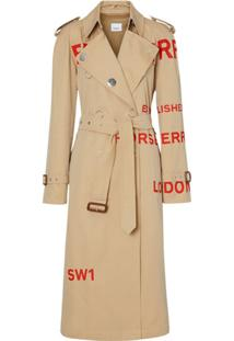 Burberry Trench Coat Com Estampa Horseferry - Neutro