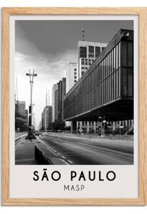 Quadro Oppen House 65X45Cm Cidades São Paulo Brasil Moldura Natural Com Vidro - Oppen House Decora