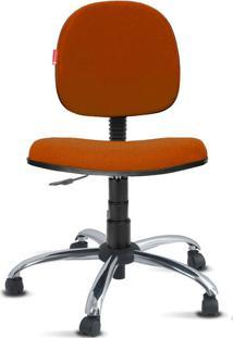 Cadeira Executiva Giratória Cromada Crepe Laranja Escuro