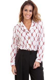 Camisa Kinara Crepe Manga Longa - Feminino-Branco