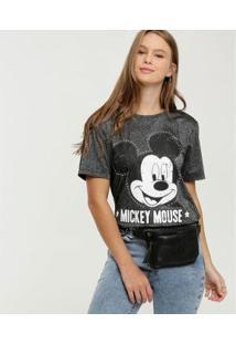 Blusa Brilho Estampa Mickey Disney Feminina - Feminino-Preto