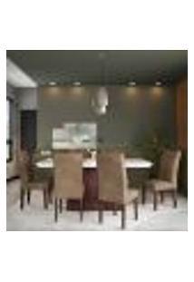 Conjunto De Mesa De Jantar Larissa I Com Vidro E 6 Cadeiras Grécia Veludo Chocolate E Off White