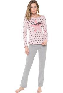 Pijama Malwee Liberta Estampado Rosa/Cinza