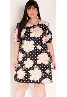 Vestido Floral E Poá Preto Soltinho Plus Size