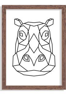Quadro Decorativo Line Drawing Hipopótamo Madeira - Grande