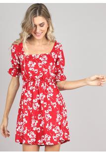 d231af525 R$ 129,99. CEA Vestido Floral Viscose Embutir Acinturado Estampado Com  Manga Curta Clock Vermelho Feminino