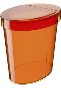 Lixeira Com Tampa Glass- Laranja- 26X24,5X18,3Cmcoza