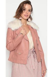 Jaqueta Em Couro Sintético- Rosa Claro Brancasusan Zheng