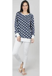 Pijama Feminino Estampado Manga Longa Azul Marinho